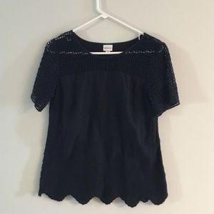 🛍 Merona black embroidery detail top VGUC